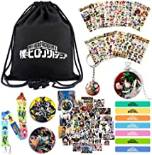 My Hero Academia Heroes Rising Merch Set for Anime Fans 1 Drawstring Bag 7 Silicone Bracelet 12 Sheet of Sticker 1 Lanyard 1 Necklace 1 Keychain 2 Pins 1 Phone Ring