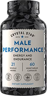 Crystal Star Male Performance Booster (60 Capsules) – Herbal Supplement That Promotes Energy and Endurance - Maca, Ginkgo ...