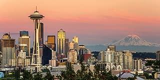 Culturenik Seattle Washington Sunset Skyline Decorative City Travel Photography Print (Unframed 12x24 Poster)