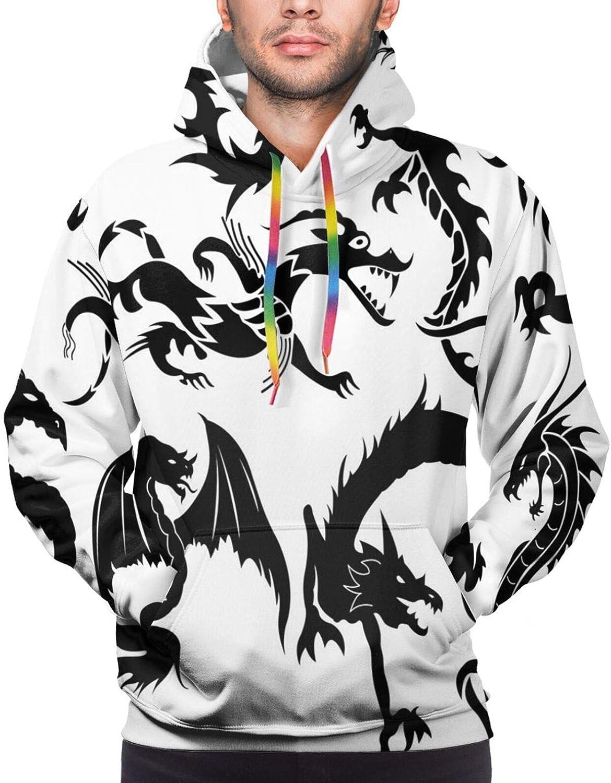 Men's Hoodies Sweatshirts,Monochrome Stripes Oval Shapes Geometric Illustration Minimalist Modern Art