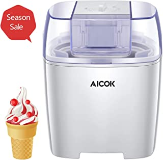 Aicok Ice Cream Maker, Frozen Yogurt and Sorbet Machine BPA Free with Timer Function, Easy Homemade Ice Cream with Instruction Book, 1.6 Quart, White