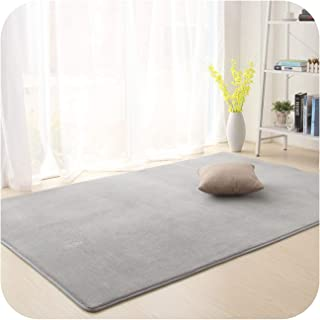 Solid Carpet for Living Room Parlor Area Rug Anti-Slip Home Great Room Rugs Bedroom Floor Mats Baby Crawling Blanket,Gray,50X80cm
