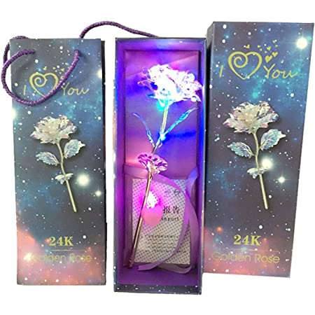 Shifaa Enterprise Artificial Rose Led Light Flower And Gift Box And Carry Bag(Gold,1 Piece)