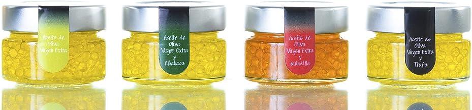 Pack Caviar 4 Unidades 50 Gr - Trufa Blanca, Guindilla, Albahaca y Aceite Picual - Producto de Jaén