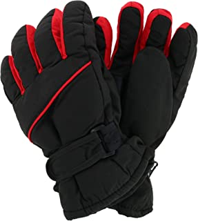 CTM Kids' 8-14 Winter Ski Gloves with Contrast Piping