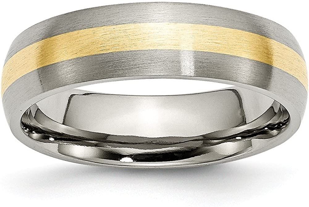 ICE CARATS Titanium Brushed 14k Yellow Inlay 6mm Wedding Ring Band Precious Metal Fine Jewelry for Women Gifts for Her