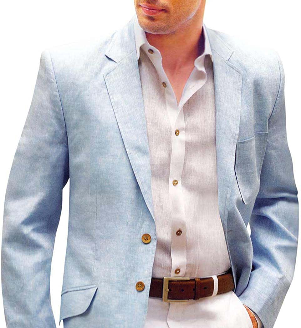 INMONARCH Mens Slim fit Casual Sky Blue Linen Blazer Sport Jacket Coat Two Button SB03XL50 50 X-Long Sky Blue
