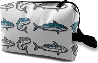 LEIJGS Mackerel Vector Cartoon Illustration Small Travel Toiletry Bag Super Light Toiletry Organizer for Overnight Trip Bag