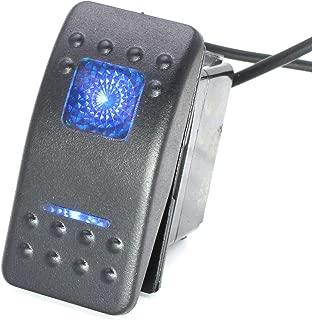 X-Haibei Waterproof 3 Position Rocker Switch 12V 24V Spdt On Off On 4 Pin Blue LED Light for Boat Car Truck