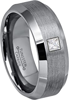 0.10ctw Solitaire Princess Cut Diamond Tungsten Ring - 8MM Brushed Beveled Edge Tungsten Carbide Wedding Band - April Birthstone Ring