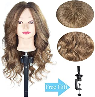 "20""- 22"" 100% Human Hair Mannequin Head Training Head Hair Styling Head Cosmetology Manikin Doll Head (Table Clamp Stand Included)"