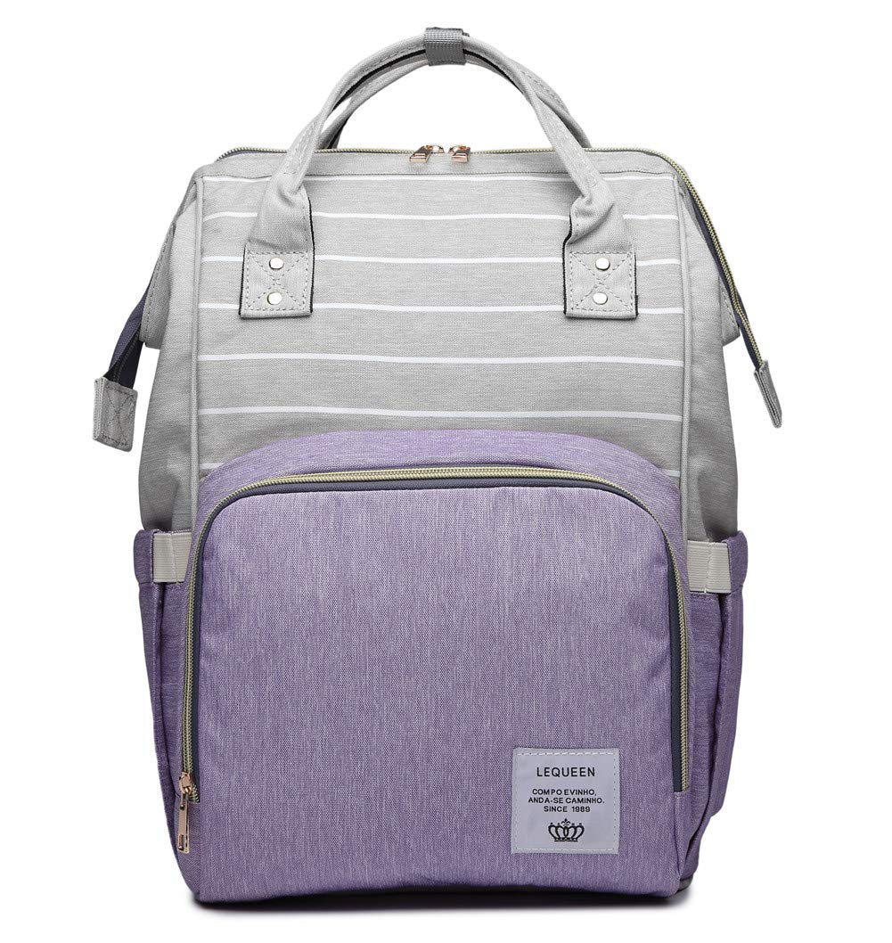 QIXINGHU Multi-Function Diaper Bag for Baby Care Travel Backpack Nappy Bags Handbags Large Capacity purple, SIZE(LWH):10.68.315.7in