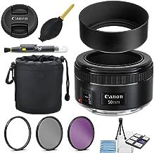 Canon EF 50mm f/1.8 STM Lens + 49mm Metal Lens Hood + Lens Pouch + HD Filter Kit + Blower + Pen + Started Kit