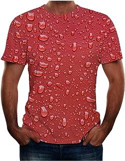 Camiseta Hombre Estampada En 3D Manga Corta Modernas Tallas Grande Camisa Elasticos con Estampadas Deporte Blusa Shirt Ver...