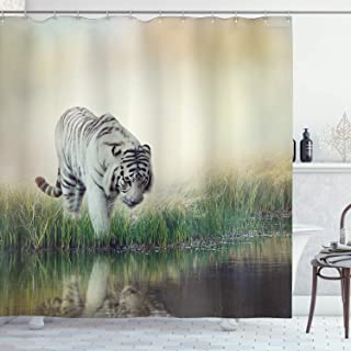 Ambesonne Wildlife Animal Nature Decor Tiger Leopard Wild Animals in Jungle Forest, Polyester Fabric Bathroom Shower Curtain Set with Hooks