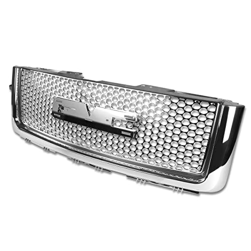 For GMC Sierra Denali ABS Plastic Round Mesh Front Bumper Grille (Chrome) - 2nd