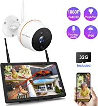 【Two-Way Audio】 Full HD 1080P Security Camera System Wireless with 7'' Touchscreen Monitor,Wandwoo 4 Channel NVR 1pc Indoor Outdoor IP Camera,Pre-Install 32GB SD Card,Night Vision Free App