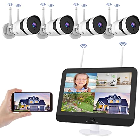 """8CH Wireless CCTV NVR 1080P Outdoor Security Camera System With 12/"""" LCD Monitor"""