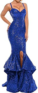 QUZI DRESS Sexy Mermaid Evening Dresses for Party Split Side Long Sequined Ball Gowns QZ053