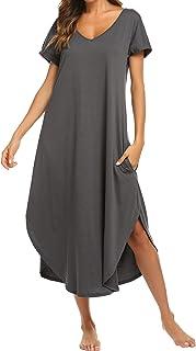 ملابس نوم نسائية بأكمام قصيرة ورقبة على شكل حرف V من إكوير، ملابس نوم ليلية مقاس كبير S-XXL