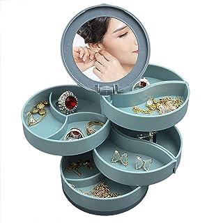 Meeshine 4-Layer Rotatable Jewelry Organizer, 360-Degree Rotatable Small Jewelry Box for Women Girls, Built-in Mirror, Jew...