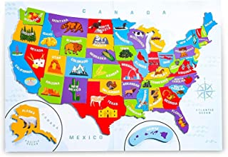 U.S. Puzzle Map of The United States with 44 Magnetic Pieces (19 x 13 Inches)