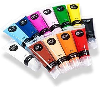 perfect ideaz Set de Peinture Acrylique de Couleur 12x75ML, 12Couleurs créatives différentes en Tube, Forte Concentrat...