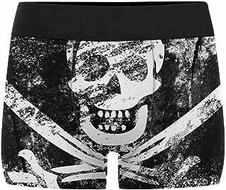 INTERESTPRINT Men's All-Over Print Boxer Briefs Skull Jolly Roger Pirate Flag Black Skeleton (XS-3XL)