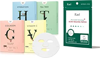 Rael Beauty Facial Mask Variety Pack (20 Count) & Microneedle Acne Healing Patch ( 9 Patches)
