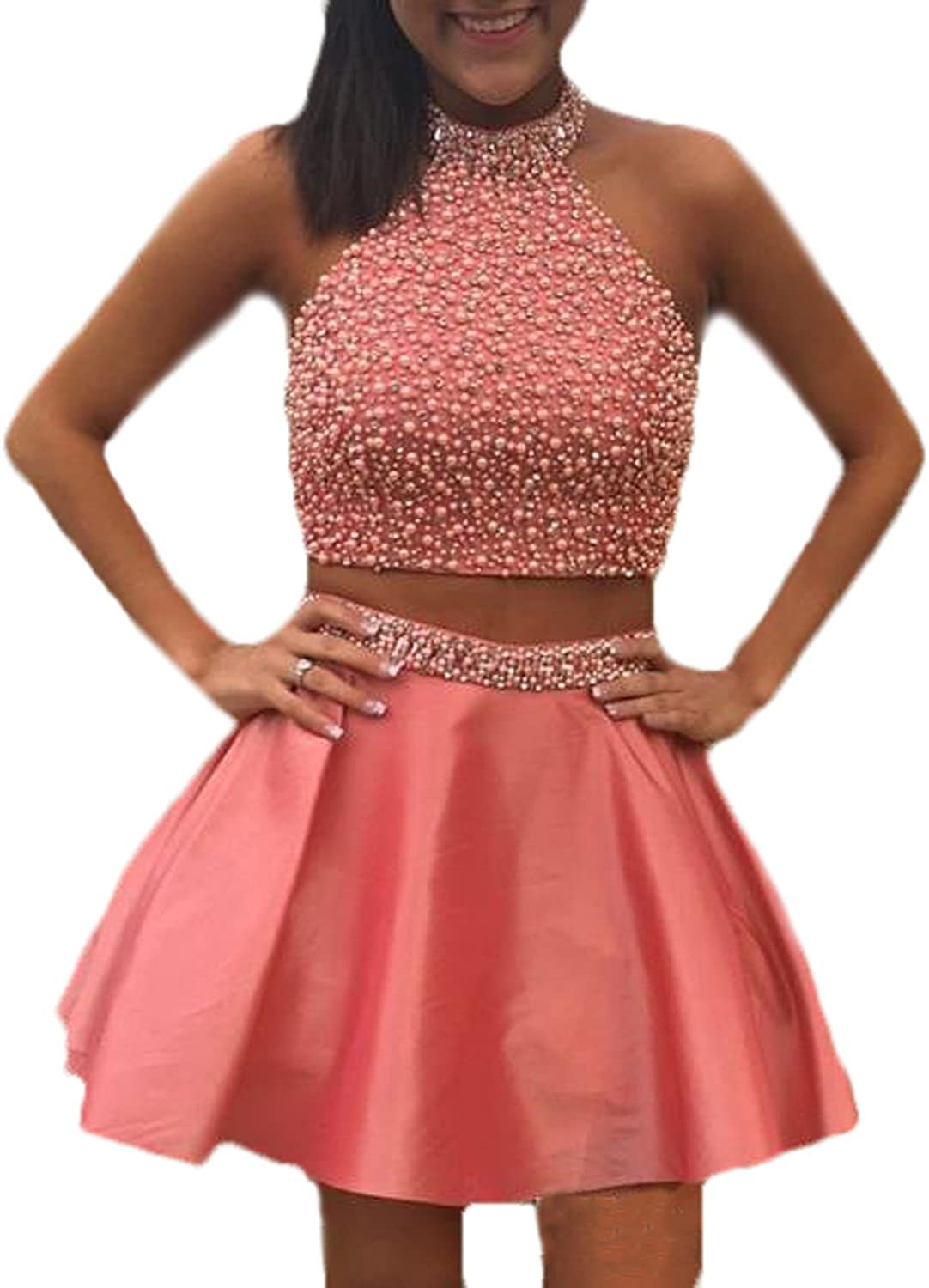 CIRCLEWLD Pearls Beaded Prom Homecoming Dresses Two Piece Printed Satin Lace Short Gowns H2026