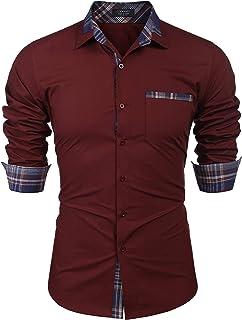 COOFANDY Men's Casual Cotton Long Sleeve Dress Shirt Plaid Collar Button Down Shirt