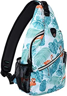 Sling Backpack,Travel Hiking Daypack Pattern Rope Crossbody Shoulder Bag, Flamingo