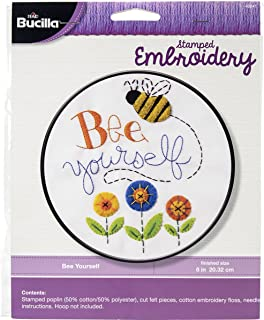 Bucilla Stamped Embroidery Kit, 8-Inch, 46241 Bee Yourself