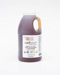 Organic Nectars 100% Raw Premium Dark Agave Syrup, 46 Ounce Jug