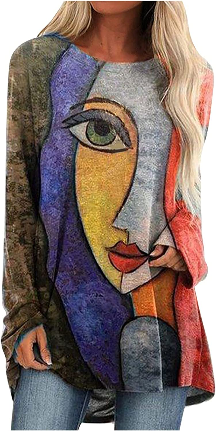 Casual Tops for Women Fashion Retro Abstract Face Print Long T-Shirt O Neck Long Sleeve Blouses Plus Size