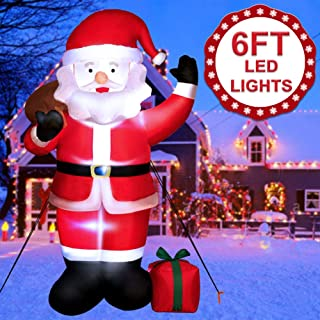 OurWarm 6ft Christmas Inflatables Blow Up Yard Decorations, Self-Inflating Santa Claus with LED Lights for Indoor and Outdoor Garden Lawn Christmas Decorations
