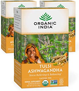 Organic India Tulsi Ashwagandha Herbal Tea - Stress Relieving & Balancing, Immune Support, Adaptogen, Vegan...