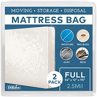 Mattress Protector - 2pk Full Size Thick Plastic Moving Cover, Transport, Disposal and Storage Bag - 2.5 mil Heavy Duty Re...