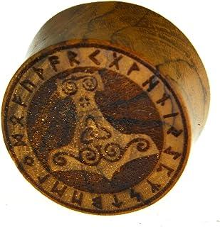 Flesh Plug in legno di teak Viking Viking Kelten Triskele Thors martello con anello runna, dilatatore a doppia svasatura i...