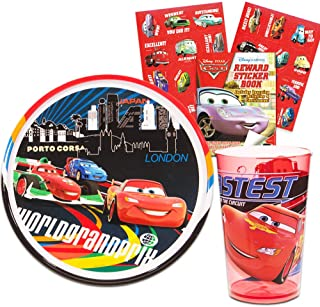 Disney/Pixar Cars Toddler Dining Set - Plate, Bowl, Cup, Flatware and Stickers (Cars Dinnerware Set)