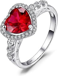 JewelryPalace Cuore di Ocean Verde Artificiale Russo Nano Smeraldo Rosso Rubino Halo Anello di Promessa Sterling Argento 925