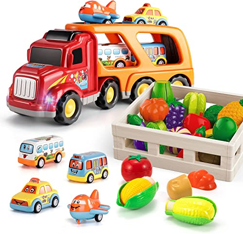 discount TEMI Carrier Truck Transport Car Play Vehicles Toys 2021 and TEMI Cutting Play Food Toy for Kids Kitchen, new arrival Pretend Fruit and Vegetables Accessories with Storage Case, Map and Knife, Educational Toy sale