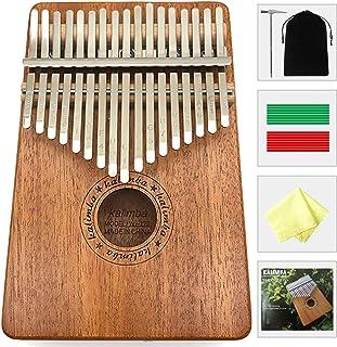 Deoukana Kalimba 17 Keys Thumb Piano with Study Instruction and Tune Hammer, Portable Mahogany Wood Finger Piano, Gift for Kids Adult Beginners Professional. (Mahogany)