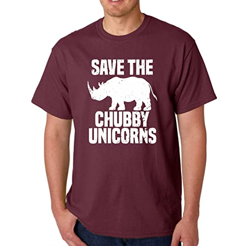 9047bf94 AW Fashions Save The Chubby Unicorn - Funny Quote Tees Hipster Men's T-Shirt