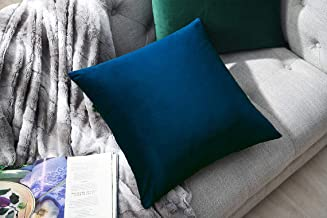 COMFORTLAND 2 Pack Decorative Throw Pillow Covers, Square Soft Luxury Velvet Cushion..
