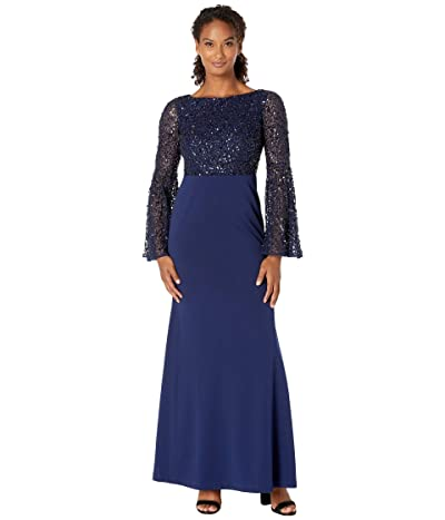 Adrianna Papell Beaded Boat Neck Gown with Bell Sleeve (Light Navy) Women