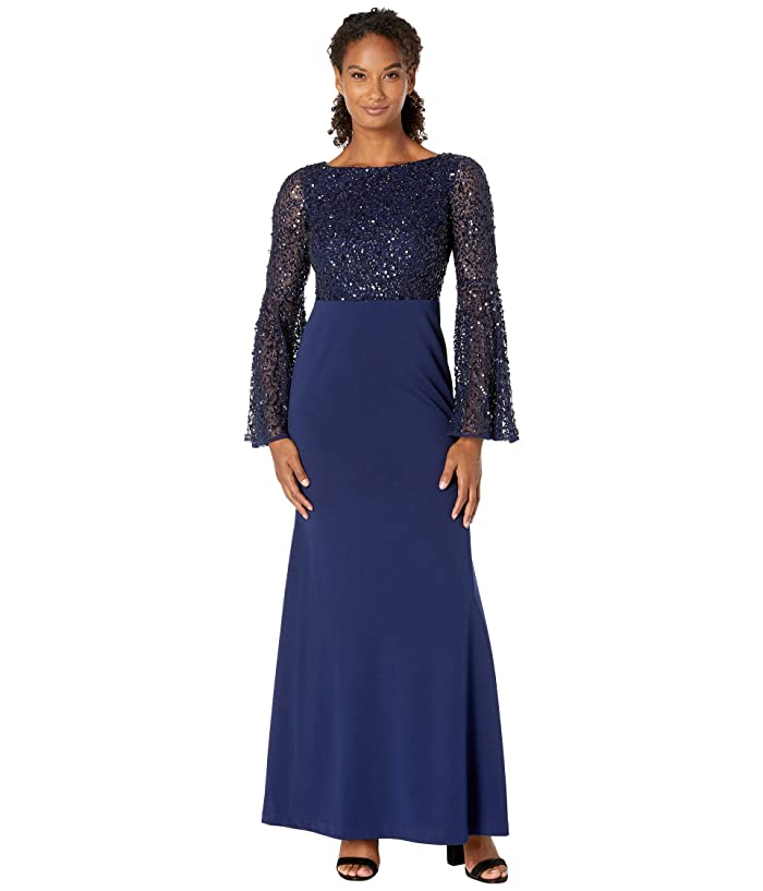 Titanic Dresses & Costumes   1912 Dresses Adrianna Papell Beaded Boat Neck Gown with Bell Sleeve Light Navy Womens Dress $289.00 AT vintagedancer.com
