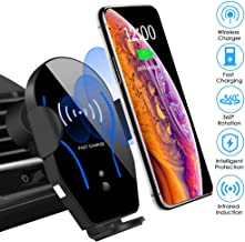 Wireless Car Charger Mount Auto-Clamping Air Vent Car Phone Holder 7.5W Fast Charging..