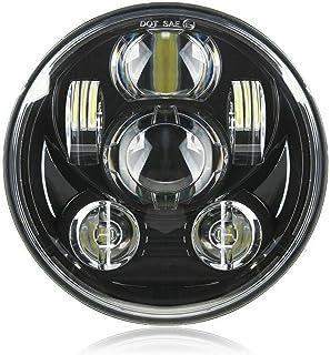 Motorcycle 5-3/4 5.75 inch LED Headlight for Harley Davidson Dyna Street Bob Super Wide Glide Low Rider Night Rod Train Softail Deuce Sportster Iron 883-Black