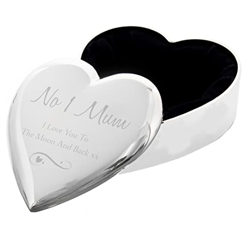 NO 1 MUM I LOVE YOU TO THE MOON BACK Silver Finish TRINKET BOX Gift